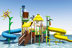Fiberglass Waterpark Playground House With Slide